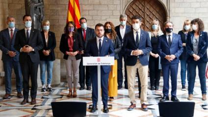 Aragonès compareix amb els membres del govern