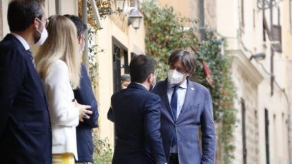 El president de la Generalitat, Pere Aragonès, es troba amb el president Carles Puigdemont a l'Alguer aquest dissabte a la tarda