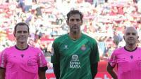 Diego López en una acció del partit d'avui davant el Sevilla.