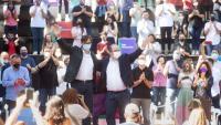El líder del PSC, Salvador Illa, i el ministre Miquel Iceta a la Festa de la Rosa