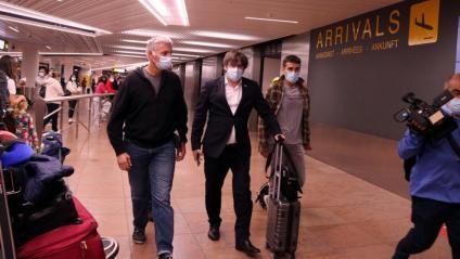 Carles Puigdemont a l'arribada a Brussel·les