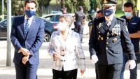Rafael Pérez Ruiz , la delegada del govern estatal, Teresa Cunillera, i José Antonio Togores, en l'acte d'ahir