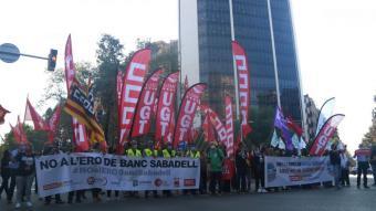 Protesta dels treballadors del Banc Sabadell a Barcelona