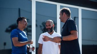 Míchel, Pere Guardiola i Ferran Soriano, a La Vinya