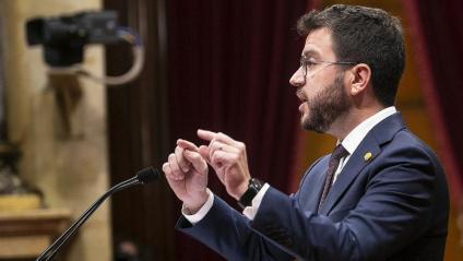 El president Pere Aragonès, durant la seva intervenció ahir a la tarda en el debat de política general