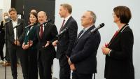 El candidat de l'SPD, Olaf Scholz, amb representants dels Verdsi Liberals aquest divendres a Berlín