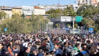 Estibadors protesten contra el 'green pass' al port de Trieste, al nord d'Itàlia, ahir coincidint amb l'entrada en vigor de la mesura