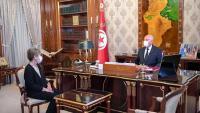 El president tunisià, Kaïs Saïed , reunit amb la primera ministra, Najla Bouden Romdhane, a Tunis, el juliol passat