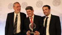 Els guanyadors del Premi Planeta 2021 Agustín Martínez, Jorge Díaz i Antonio Mercero