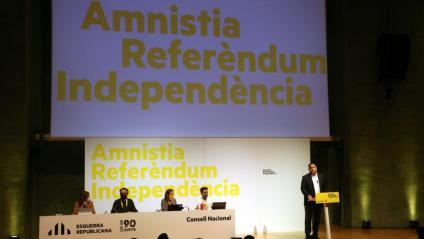 Un moment del Consell Nacional d'ERC, amb Oriol Junqueras