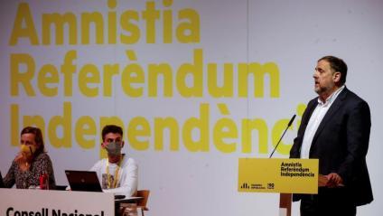 Oriol Junqueras, durant la seva intervenció d'ahir en el consell nacional d'ERC, on el missatge polític central va ser en relació amb el pressupost estatal