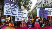 Treballadores de la llar i les cures es manifesten davant la Delegació del Govern a Barcelona