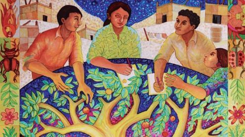 <b>La portada d'aquest any de l'Agenda</b> és l'obra 'L'esperança en l'arbre de la vida', de l'artista peruà Jaime Colan