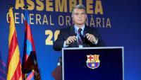 El president del Barça durant l'assemblea