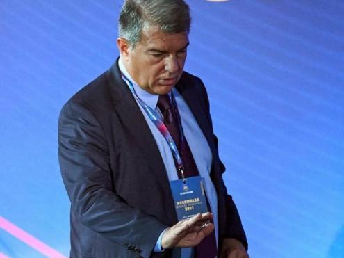Joan Laporta, durant l'assemblea de compromissaris, ahir al Palau Blaugrana