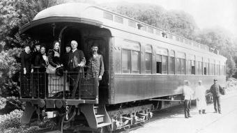 Mary Sheldon, expedicionària a l'Àfrica, al tren de Monterey, Califòrnia, el 19 de març de 1891