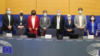 Els eurodiputats de Junts, ERC, el PNB, Bildu i el Partit de la Nació Corsa durant una roda de premsa sobre l'autodeterminació i la Conferència sobre el Futur d'Europa, a Estrasburg