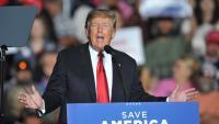 Donald Trump en un míting el 9 d'octubre passat a Des Moines (Iowa)