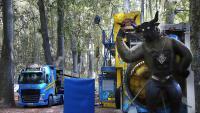 Vehicles i instal·lacions, al parc de la Devesa, en una imatge presa dimarts. Les Fires comencen dijous que ve.