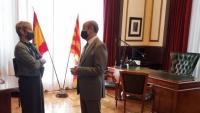 La consellera de Justícia, Lourdes Ciuró, i el president del TSJC, Jesús M. Barrientos, al juliol