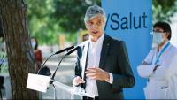 El conseller de Salut Josep Maria Argimon durant una roda de premsa