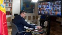Sánchez, en una videoconferència amb els presidents autonòmics, l'any passat