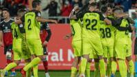 Els jugadors del Girona celebrant un gol a Anduva
