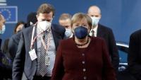 La cancellera alemanya Angela Merkel arriba a la trobada