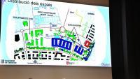 L'alcaldessa de Girona, el conseller de Salut i l'alcalde de Salt, dissabte en la presentació dels plànols