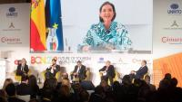 La ministra de Turisme, Reyes Maroto, intervé virtualment a la jornada