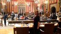 L'alcaldessa, Ada Colau, al Saló de Cent de l'Ajuntament en un ple celebrat el 29 de setembre
