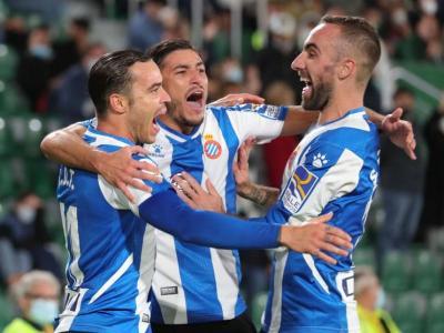 Els jugadors de l'Espanyol celebren un dels gols marcats ahir