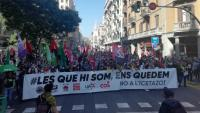 Capçalera de la manifestació a Barcelona